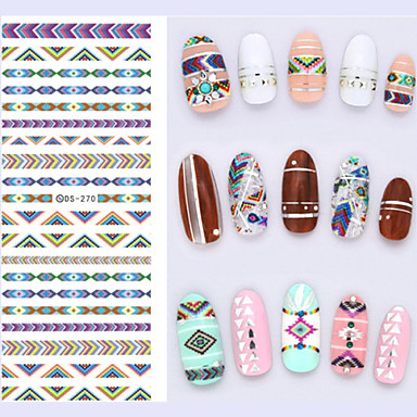 Big Page Water Transfer Printing  Ethnic Rainbow Stripe Nail Stickers