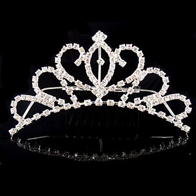 여성 라인석 크리스탈 합금 투구-웨딩 특별한날 왕관 1개