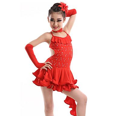Latin Dans Kjoler Ytelse Spandex Paljetter Melkefiber Krystall / Rhinestone Kjole Hansker Nakkeklær
