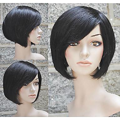 Ihmisen hiukset Capless Peruukit Musta Tummanruskea Suora