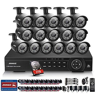 Annke® 16CH 2MP 1080P HDMI DVR 2TB HDD Outdoor Home Video Security Camera System