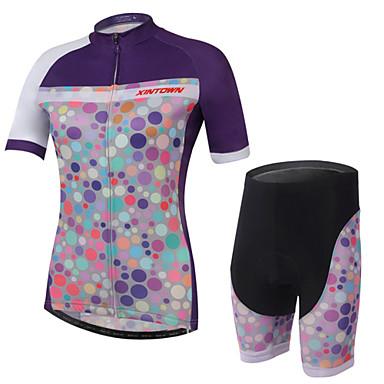 XINTOWN Camisa com Shorts para Ciclismo Mulheres Manga Curta Moto braço aquecedores Camisa/Roupas Para Esporte Conjuntos de Roupas