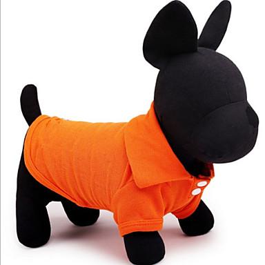 Hund T-shirt Hundkläder Enfärgad Gul Röd Grön Blå Rosa Cotton Kostym För husdjur Herr Dam Ledigt/vardag