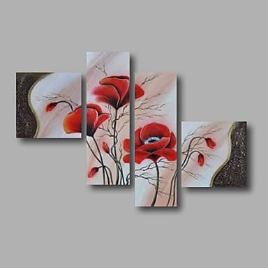מצויר ביד פרחוני/בוטני בכל צורה, מודרני בַּד ציור שמן צבוע-Hang קישוט הבית ארבעה פנלים