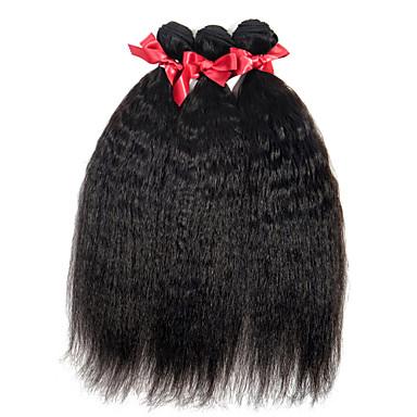 billige Parykker af ægte menneskerhår-3 Bundler Brasiliansk hår Lige 10A Jomfruhår Menneskehår, Bølget 8-28 inch Menneskehår Vævninger Menneskehår Extensions / Ret