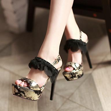 Ženske Cipele Umjetna koža Proljeće Ljeto Jesen Stiletto potpetica Platformske cipele Cvijet od satena S volanima za Kauzalni Formalne