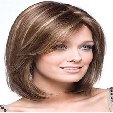 Syntetiske parykker Dame Rett Brun Syntetisk hår 10 tommers Brun Parykk Medium Lengde Lokkløs Brun hairjoy