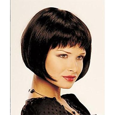 Sentetik Peruklar Düz Bob Saç Kesimi / Kısa Bob / Bantlı Sentetik Saç Peruk Kadın's Şort Bonesiz