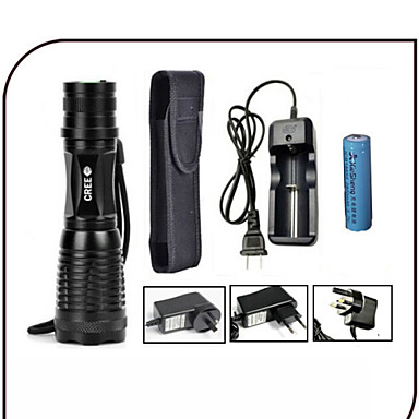 LED Flashlights/Torch LED 1000 lumens Lumens 5 Mode Cree XM-L T6 18650 Adjustable Focus Impact Resistant Rechargeable Waterproof
