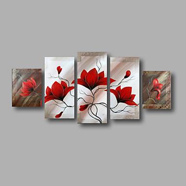 Håndmalte Blomstret/Botanisk enhver form, Moderne Lerret Hang malte oljemaleri Hjem Dekor Fem Paneler