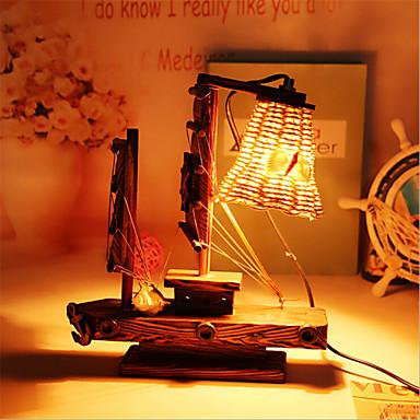 מתנת מנורת קישוט שולחן מנורת חדר שינה יצירתי עץ מנורת שיט אור עבור ילד