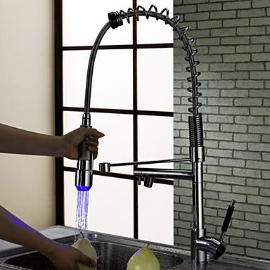 Suvremena Pull-out / Pull-down Munkalapra szerelhető Slavine na povlačenje Okretljive slavine LED Keramičke ventila Jedan Ručka jedna rupa