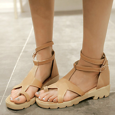 נעלי נשים-סנדלים-דמוי עור-טבעת אצבע / גלדיאטור / פתוח-שחור / צהוב / לבן-שמלה / קז'ואל-מדרס מחולק