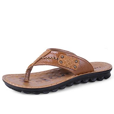 Herre-Lær-Flat hæl-Komfort-Tøfler og flip-flops-Friluft Fritid-