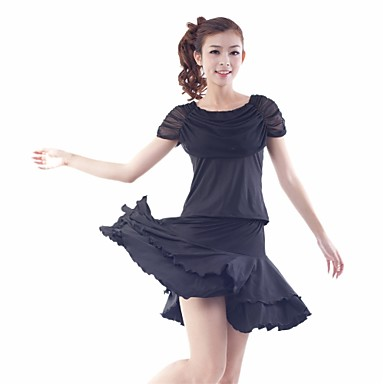 Žene-Outfits- zaLatin Dance(Crn Plav Crvena,Til Tejszövet,Zamotan Pleated Volani)