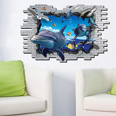 Eläimet Piirretty Wall Tarrat 3D-seinätarrat Koriste-seinätarrat Valokuvatarrat materiaali Irroitettava Kodinsisustus Seinätarra