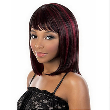 Sentetik Peruklar Düz Sentetik Saç Kırmızı Peruk Kadın's Orta Bonesiz