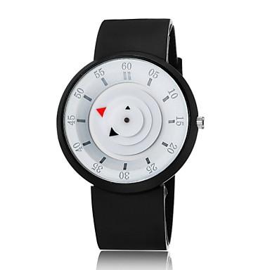Masculino Relógio de Pulso Único Criativo relógio Quartzo Silicone Banda Preta Branco Branco Preto Branco/Preto