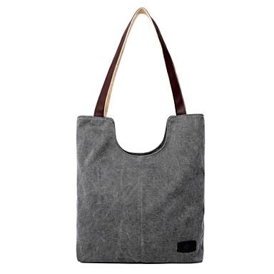 נשים שקיות קנבס תיק צד תיק יד ילקוט ל קניות קזו'אל סתיו בז' כחול כהה אפור קפה כחול בהיר