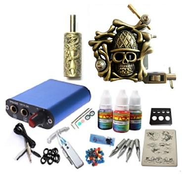Starter Tatoveringssett 1 x legering tatovering maskin for fôr og skyggelegging Tattoo Machine stk tattoo Nåler Mini strømforsyning 1 ×