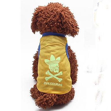 개 티셔츠 옐로우 강아지 의류 여름 / 모든계절/가을 솔리드 패션