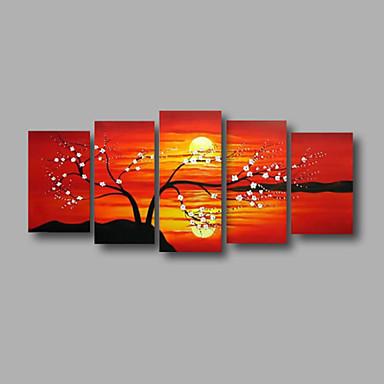 Ručno oslikana Sažetak / Cvjetni / BotaničkiModerna Pet ploha Platno Hang oslikana uljanim bojama For Početna Dekoracija