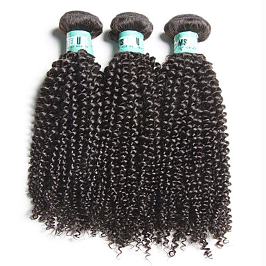 Brazilian Hair Kinky Curly Human Hair Weaves Soft Natural Color Hair Weaves Daily