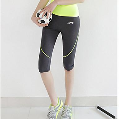 Mulheres Calça Corsário de Corrida Secagem Rápida Respirável Compressão Materiais Leves Redutor de Suor 3/4 calças justas Calças para