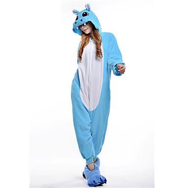 Erwachsene Kigurumi-Pyjamas Nilpferd Pyjamas-Einteiler Polar-Fleece Blau / Rosa Cosplay Für Herren und Damen Tiernachtwäsche Karikatur Halloween Fest / Feiertage