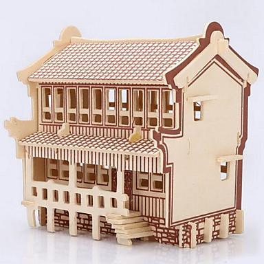 פאזלים פאזלים3D פאזלים מעץ אבני בניין צעצועי DIY בית עץ