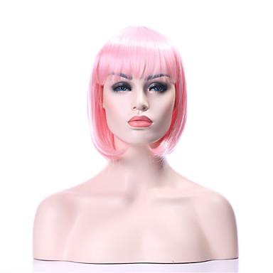 Kvinder Syntetiske parykker Lokkløs Rett Svart Rosa Bobfrisyre costume Parykker
