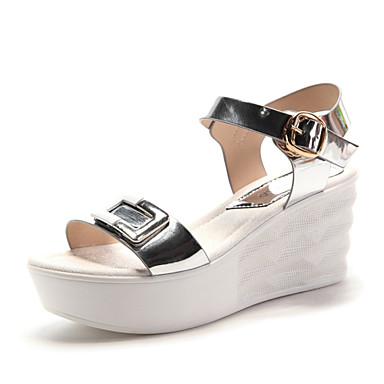Damen Schuhe Kunstleder Frühling Sommer Herbst Keilabsatz Schnalle Für Hochzeit Kleid Schwarz Silber