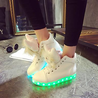 Naiset Kengät Tekonahka Talvi Kevät Syksy Välkkyvät kengät Tasapohja Solmittavat varten Urheilullinen Kausaliteetti Valkoinen