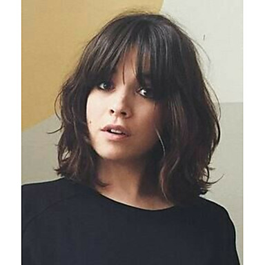 Human Hair Glueless Lace Front Lace Front Wig Bob Free Part With Bangs Kardashian style Brazilian Hair Straight Brown Natural Black Wig 130% 150% 180% Density 8-20 inch with Baby Hair Natural