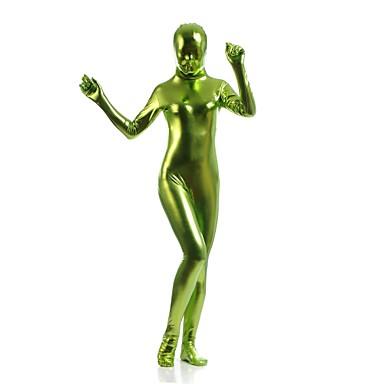 חליפות Zentai מבריקות Ninja Zentai תחפושות קוספליי ירוק אחיד / סרבל תינוקותבגד גוף Zentai ספנדקס מתכתי מבריק בגדי ריקוד גברים בגדי ריקוד