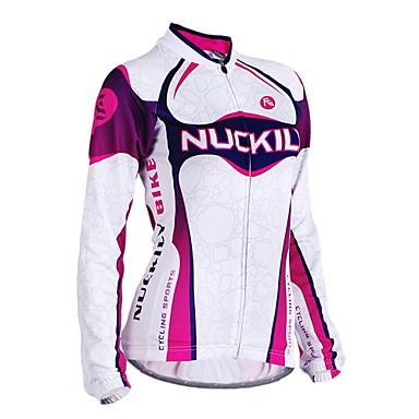 Nuckily Mulheres Manga Longa Camisa para Ciclismo - Roxo Geométrico Moto Camisa / Roupas Para Esporte, Design Anatômico, Resistente Raios