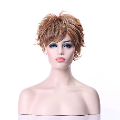 Sentetik Saç peruk Bukle Bonesiz Karnaval Peruk Cadılar Bayramı Peruk Doğal Peruk siyah Peruk Şort Sarışın Günlük