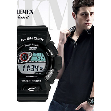 SKMEI 남성 스포츠 시계 디지털 달력 방수 실리콘 밴드 블랙 블랙 오렌지 레드 블루