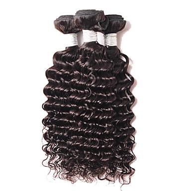 4 Bündel Brasilianisches Haar Locken Echthaar Menschenhaar spinnt Menschliches Haar Webarten Haarverlängerungen