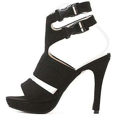 Sandaalit-Piikkikorko-Naisten kengät-Synteettinen-Musta-Häät / Toimisto / Puku / Rento / Juhlat-Avokärkiset