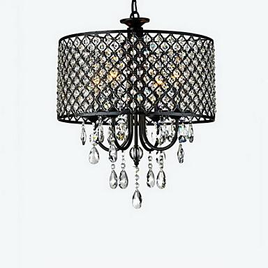 QINGMING® 4-Licht Drum Kronleuchter Deckenfluter Chrom Metall Kristall 110-120V / 220-240V Glühbirne nicht inklusive / E12 / E14