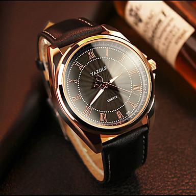 35efa70949c baratos Relógios Vestido-YAZOLE Homens Relógio de Pulso Quartzo Couro Preta    Marrom Venda imperdível