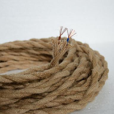 hesapli Aydınlatma Aksesuarları-(50 m / grup) 2 * 0.75 antik çift örgülü kenevir halat elektrik teli eski kolye ışık kablosu örme işıklar aksesuarları