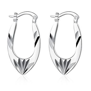 Damen Lang Ohrstecker / Klips - Sterling Silber, versilbert, Silber Blume Europäisch, Grabado Silber Für Hochzeit / Party / Alltag