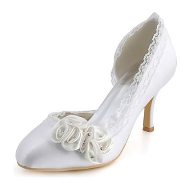 Naisten Kengät Elastinen satiini Kevät Kesä Stilettikorko Kristalleilla varten Häät Puku Juhlat Valkoinen