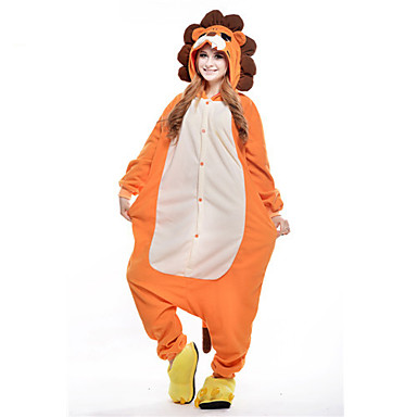 Kigurumi-Pyjamas Löwe Pyjamas-Einteiler Kostüm Polar-Fleece Orange Cosplay Für Erwachsene Tiernachtwäsche Karikatur Halloween Fest /