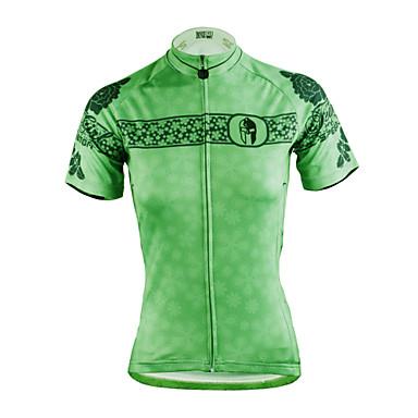 ILPALADINO Damen Kurzarm Fahrradtrikot - Grün Fahhrad Trikot/Radtrikot, Rasche Trocknung, UV-resistant, Atmungsaktiv