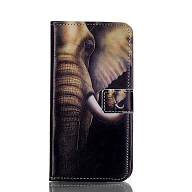 Varten Samsung Galaxy S7 Edge Lomapkko / Korttikotelo / Tuella / Flip Etui Kokonaan peittävä Etui Elefantti Tekonahka SamsungS7 edge / S6