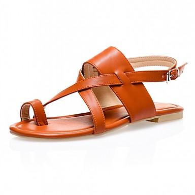 נשים בנות נעליים דמוי עור קיץ טבעת אצבע עקב שטוח עבור קזו'אל מסיבה וערב שחור כסף חום