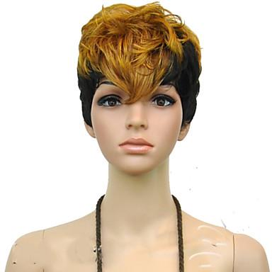 Συνθετικά μαλλιά Περούκες Σγουρά Χωρίς κάλυμμα Καρναβάλι περούκα Απόκριες Περούκα μαύρο Περούκα Κοντό Ξανθό Πάρτι